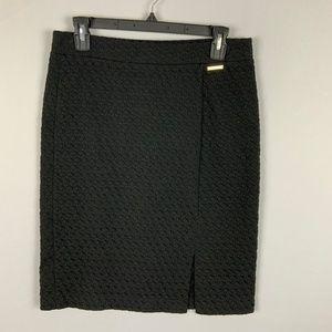 Black Textured Pull On Pencil Skirt Michael Kors